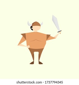 Vector Illustration of Male Viking Character. Simple Flat Design Image.