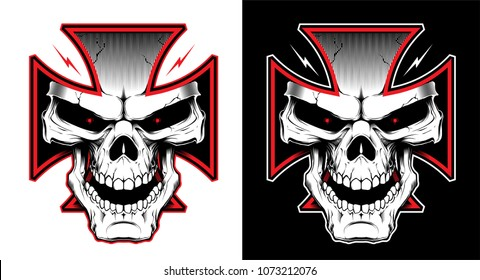 Vector illustration with Maltese cross with a skull. Biker symbol. Motorcycle club T shirt graphics concept.