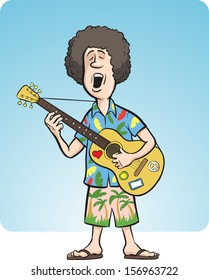 Vector illustration of man with acoustic guitar singing. Easy-edit layered vector EPS10 file scalable to any size without quality loss. High resolution raster JPG file is included.