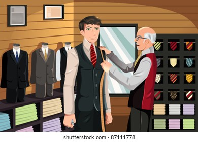 A vector illustration of a man being measured for a fitted suit by a tailor