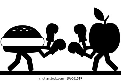 Vector / illustration. A man is boxing the taxes.