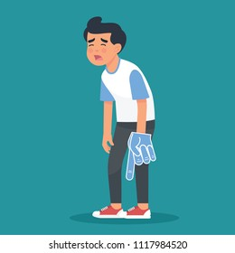 vector illustration a man or a boy sad because his favourite team lost on championship. sad soccer fans his team lost, sad supporter