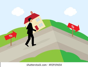 A vector illustration of a man carrying a house up a hill, following the percentage signs. A metaphor on variable mortgage rates.