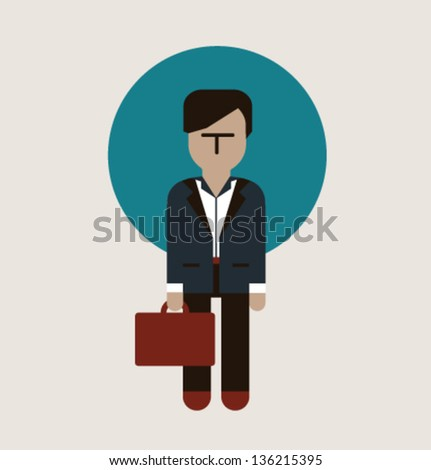 Vector illustration. Man with case