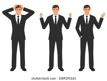 vector illustration of a man character expressions with hands gesture, cartoon businessman wit different emotion