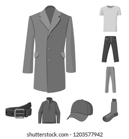 Vector illustration of man and clothing icon. Collection of man and wear vector icon for stock.