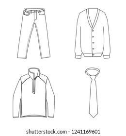 Vector illustration of man and clothing icon. Collection of man and wear stock symbol for web.