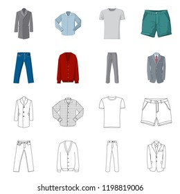 Vector illustration of man and clothing logo. Set of man and wear vector icon for stock.