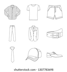 Vector illustration of man and clothing logo. Set of man and wear stock vector illustration.