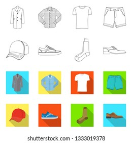 Vector illustration of man and clothing logo. Set of man and wear stock symbol for web.