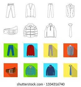 Vector illustration of man and clothing logo. Collection of man and wear vector icon for stock.