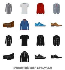 Vector illustration of man and clothing logo. Collection of man and wear stock symbol for web.