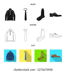 Vector illustration of man and clothing sign. Set of man and wear stock vector illustration.