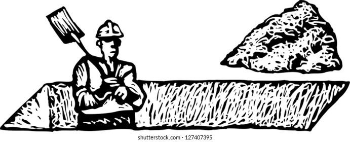 Vector illustration of man digging trench