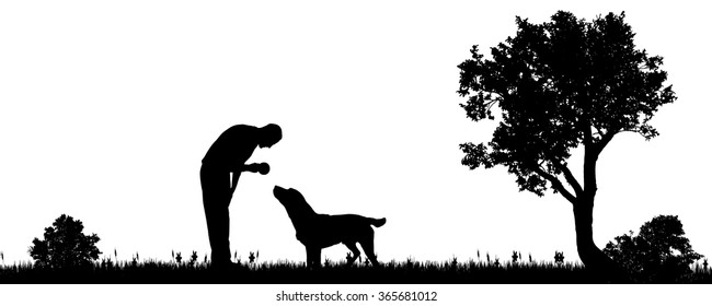 Vector illustration of a man with a dog in the countryside.