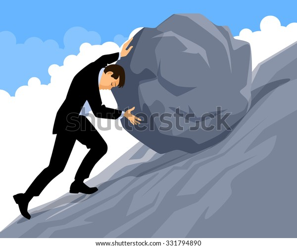 Vector illustration of a man doing useless work