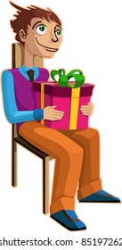 A vector illustration of a man, dreaming with a gift in his hands.