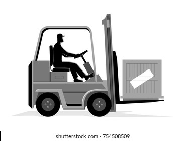 Vector illustration of a man driving a forklift