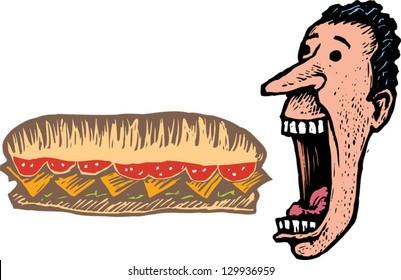 Vector illustration of man eating giant submarine sandwich