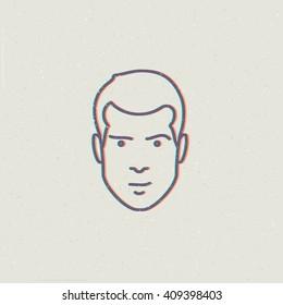 Vector illustration of man face. Fashion illustration of male sign. Masculine head icon. Man face illustration.