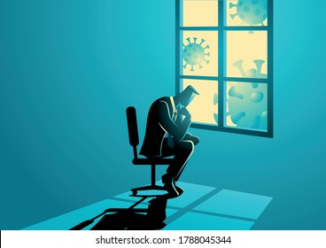 Vector illustration of man figure sitting sadly near the window. Coronavirus impact in business, economic recession, covid-19 pandemic concept