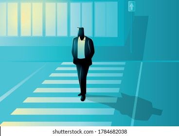 Vector illustration of man figure walking on zebra cross