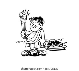 Vector illustration of man with fire flame in caricature line work.