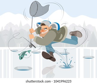 Vector illustration of man fishing in the winter