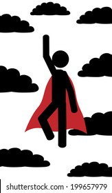 Vector / illustration. A man flies between the clouds like superman.