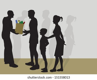 Vector illustration of a man Giving Food to a Family.