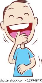 Vector illustration of a man having a good laugh.