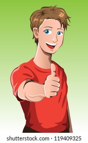 A vector illustration of a man with his thumb up
