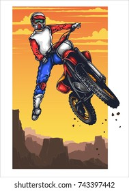 Vector illustration of man jumping with the motocross with sunset sky scenery behind