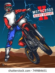 Vector illustration of man jumping with the motocross with sunset sky scenery behind and thunderstorm