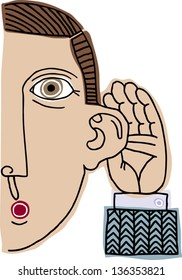 Vector illustration of a man listening