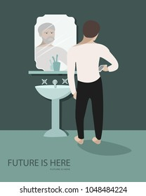 Vector illustration of man looking into his smart phone and older him looking at him from the mirror