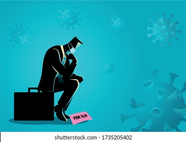 Vector illustration of a man loss job due to coronavirus. Covid-19 outbreak causing companies and businesses in crisis
