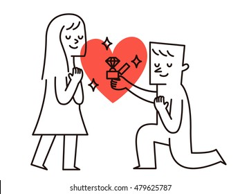 Vector illustration - Man makes marriage proposal to girlfriend. Proposed wedding.