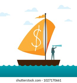 Vector illustration of a man with monoscope riding a sailboat with dollar sign on the sail.
