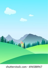 Vector illustration. Man on a bicycle in the mountains.