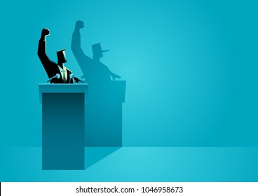 Vector illustration of a man on a podium giving speech with his long nose shadow. Concept of liar.