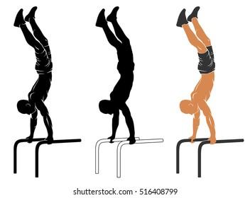 Vector illustration of man performing handstand on parallel bars.