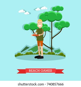Vector illustration of man with plastic disk. Beach games concept design element in flat style.