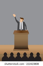 Vector illustration of a man in professional grey suit standing at lectern giving public speech.