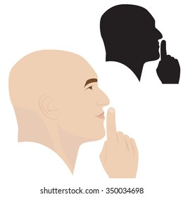 vector illustration of man profile showing silence gesture