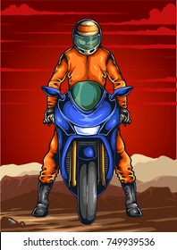 Vector illustration of man ready on the sport bike for the race with scenery and red sky  in the background