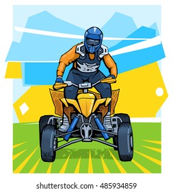 Vector illustration of a man riding all-terrain vehicle. Beautiful extreme sport poster. Summer vacation activity. ATV motocross competition contestant.