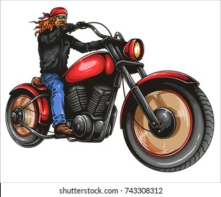 Vector illustration of man riding big classic retro motorbike