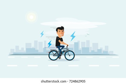 Vector illustration of man riding an electric bicycle in the city in cartoon style. Ebike new future technology in urban transporation. City skyline behind the electro cyclist.