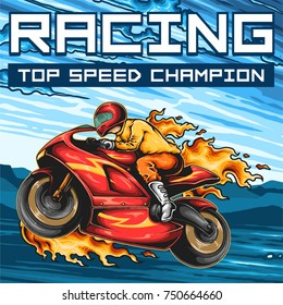 Vector illustration of man riding sport bike and doing wheelie with flame trails